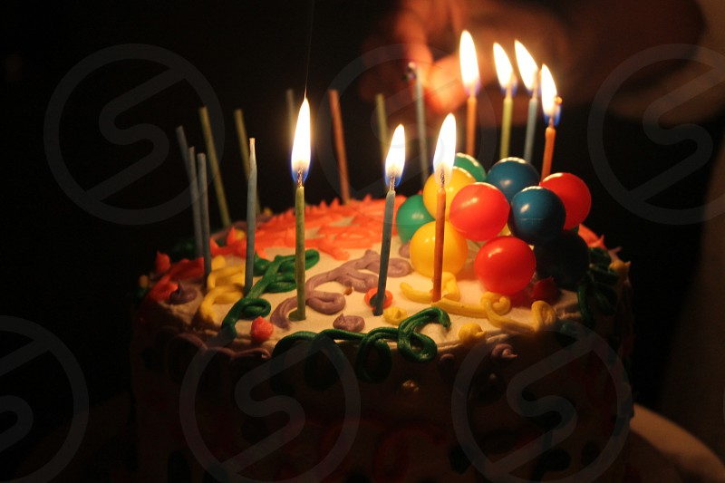 Birthday cake with candles photo