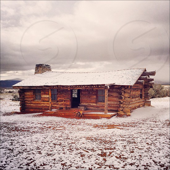 house roof with snow photo