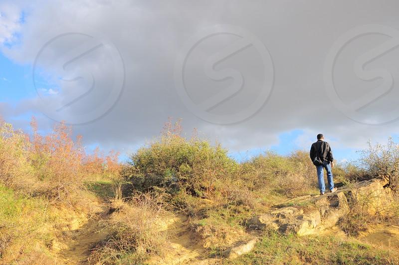 man standing near green bushes photo