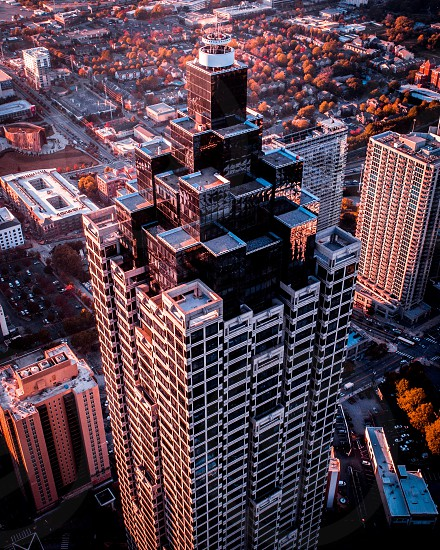 AtlantaGeorgiaCitytowerskyscraperpenthousesuite aerialdrone photo