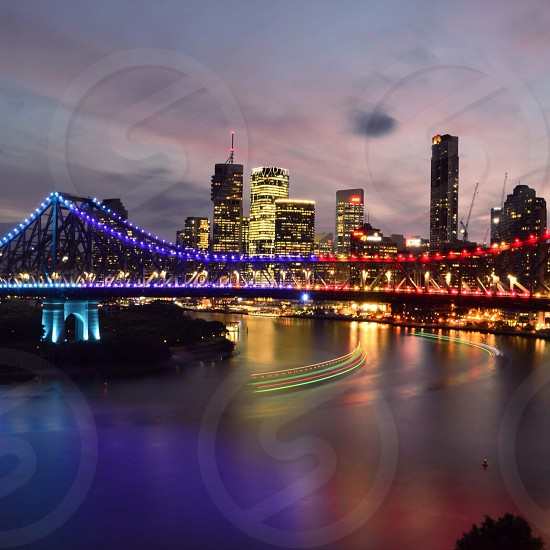 The city lights starting to shine just after the sunset | Brisbane Australia photo