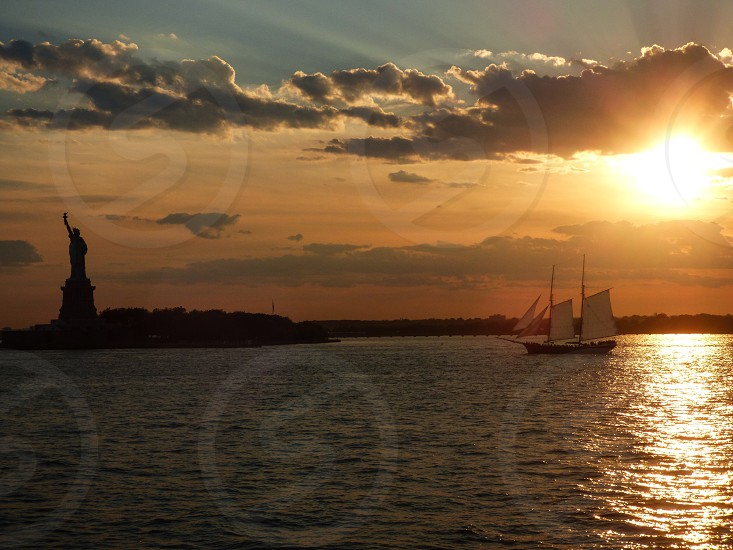 New York Statue of Liberty sunset  photo