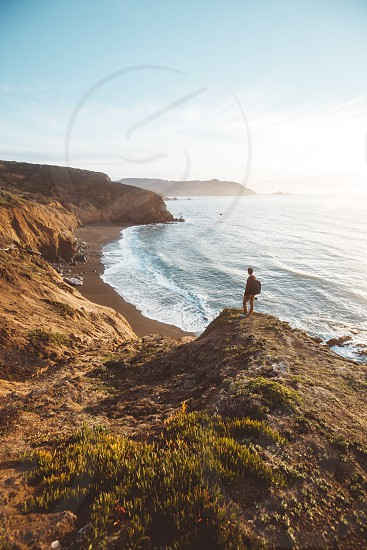 Adventure lifestyle california beach waves travel beautiful nature coast landscape sunset cliffs rugged mountains  photo