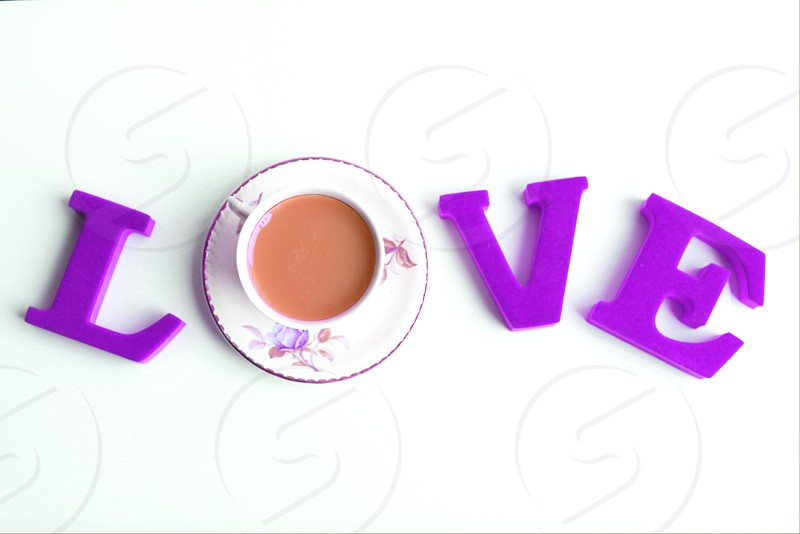 Love tea purple cuppa cup words photo