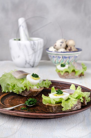 Bruschetta with eggs and fish on brown plate with ingredients on light background photo