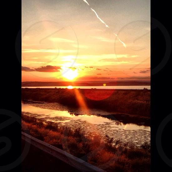 Oregon sunset creek reflection.  photo
