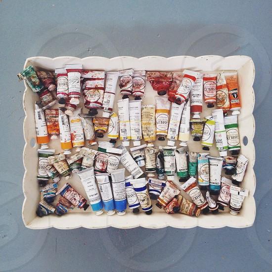 paint tubes on tray photo