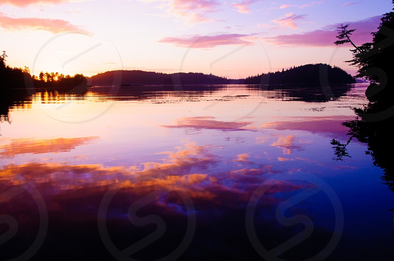 Sunset over an Alaskan lake. photo