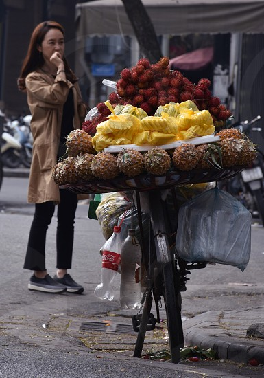 Bicycle cary fruit for sale photo