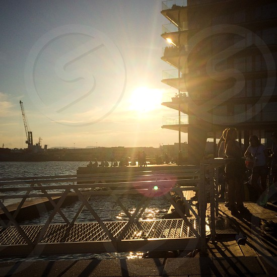 Sunset in summertime Aker Brygge Oslo Norway photo