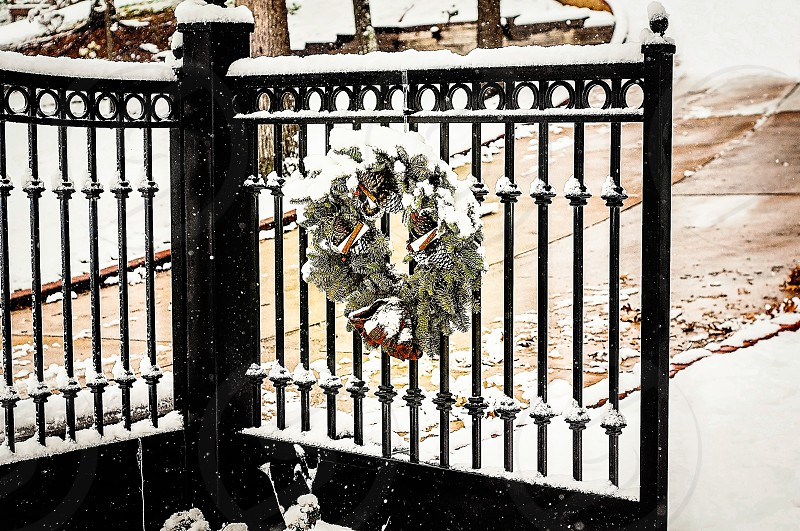 MASTERPIECE MONDAYS   I love this gate with the wreath on it add the snow and it's perfect! photo