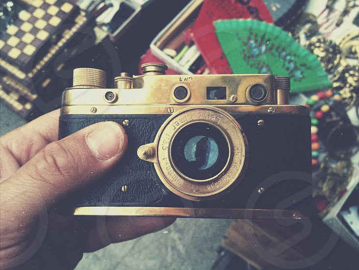 silver and black vintage film camera photo