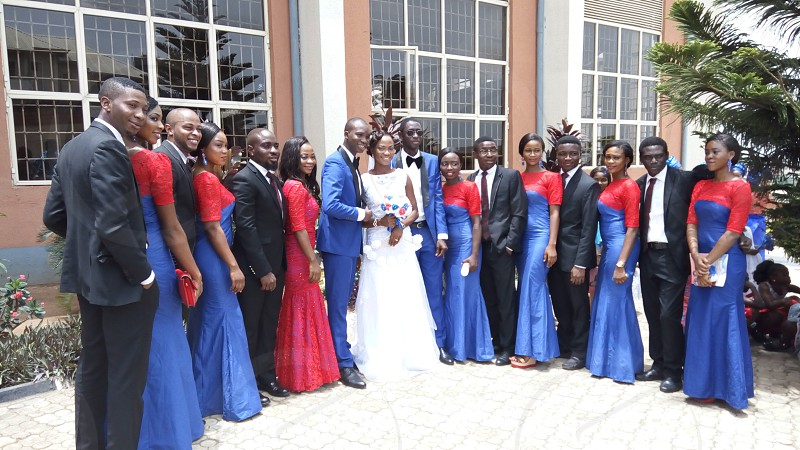 Wedding shot of the couple bridesmaids and groom's men. photo