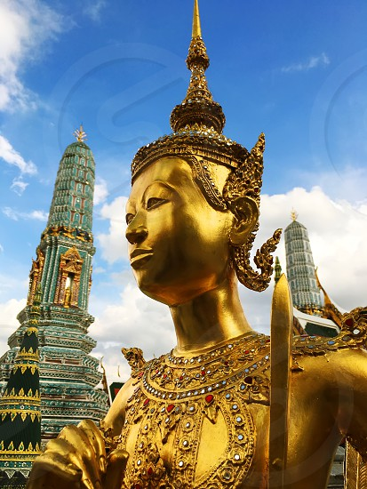 Wat Phra Kaew Temple of the Emerald Buddha Bangkok Thailand.  photo