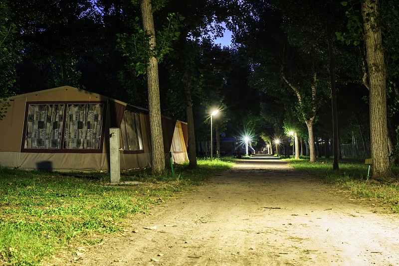 Tents in camping in the night photo