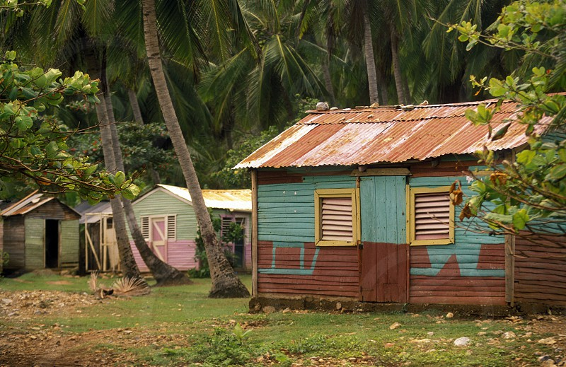 a traditional Woodhouse at the Village of Las Terrenas on Samanaon in The Dominican Republic in the Caribbean Sea in Latin America. photo