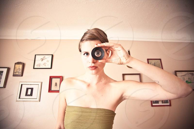 women's brown dress photo