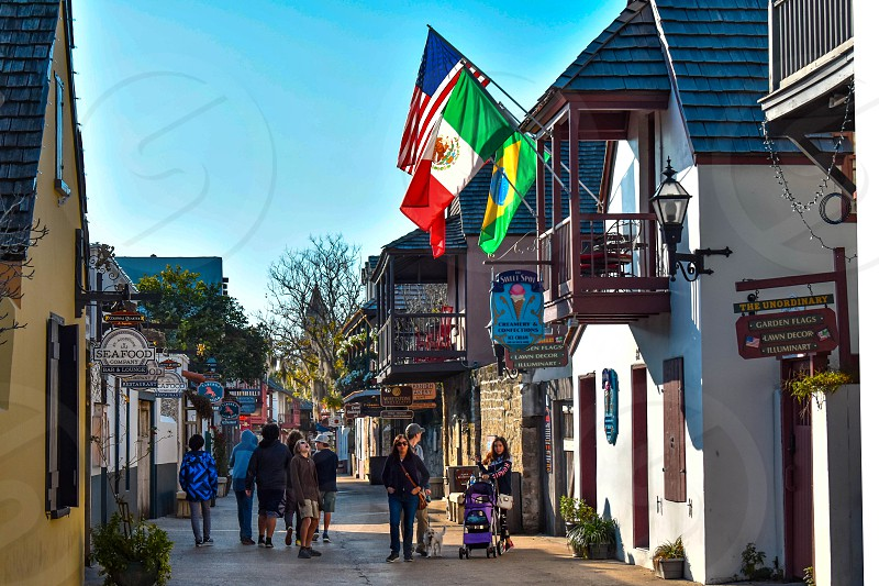 St. Augustine Florida. January 26  2019 . People enjoying colonial experience in St. George St. in Old Town at Florida's Historic Coast  (11) photo