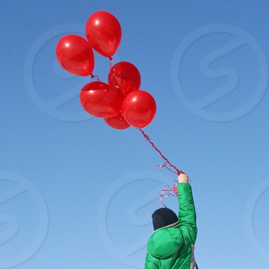 person holding six red balloons photo