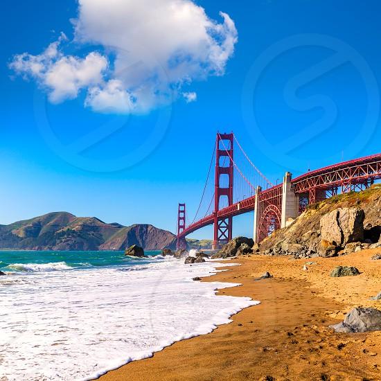 San Francisco Golden Gate Bridge GGB from Marshall beach in California USA photo