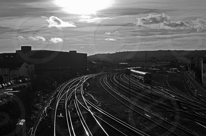 train railway high contrast shine photo