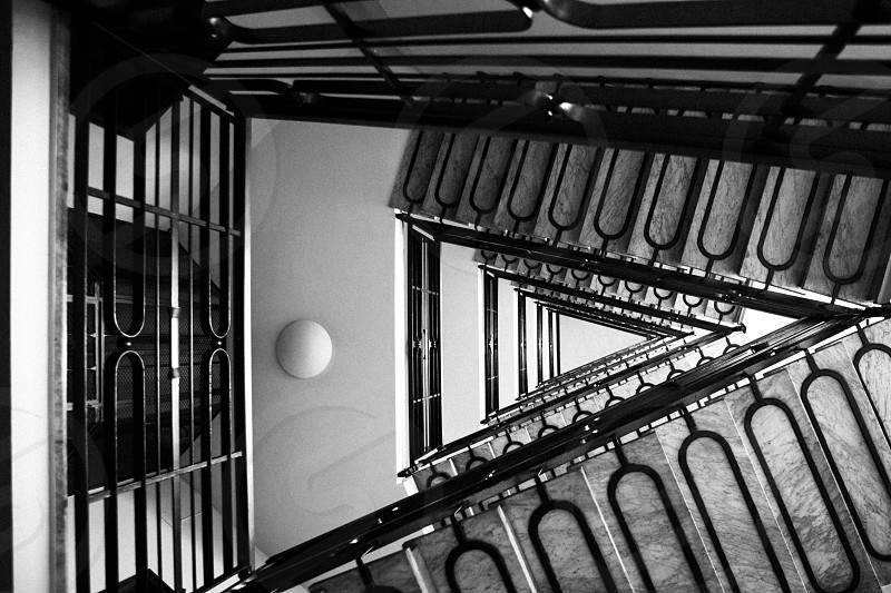 staircase in monochrome photo