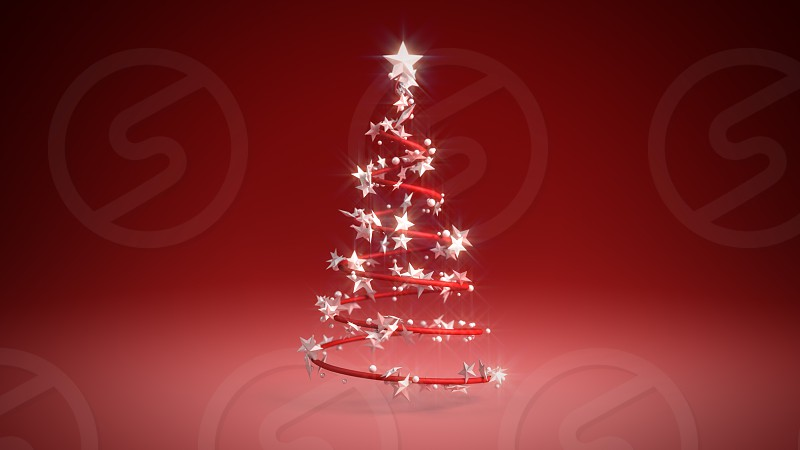 3D illustration of a Christmas tree on a red background photo