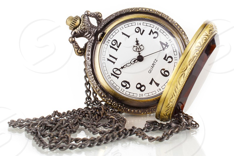 """Time clock watch minutes hours pocket white gold chain """"White background"""" product photography jewelry shiny reflection quartz  photo"""