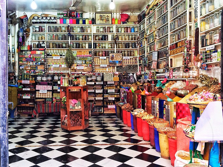 A spice shop in the Medina neighbourhood in Marrakech photo