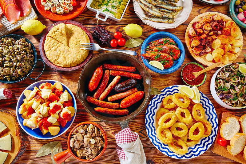 Tapas from spain varied mix of most popular tapa mediterranean food photo