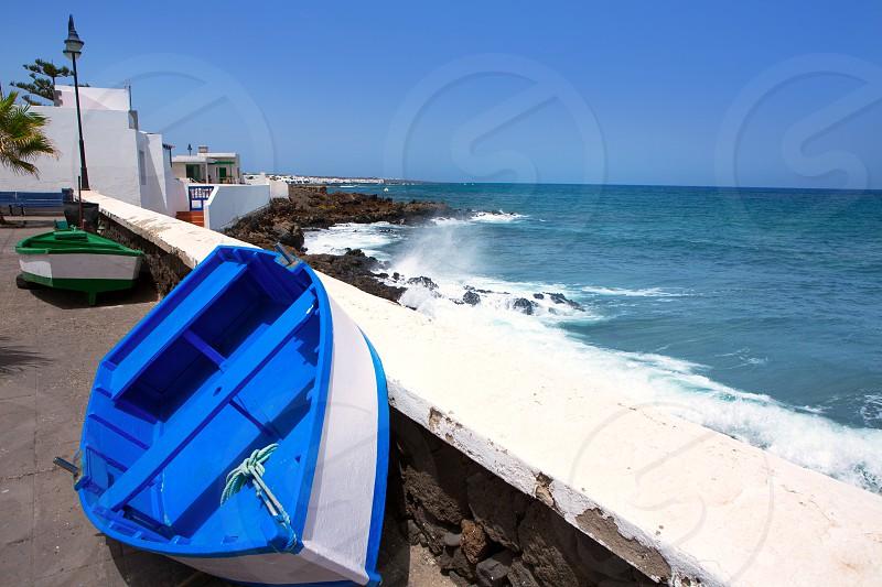 Arrieta Haria boat in Lanzarote coast at Canary Islands photo