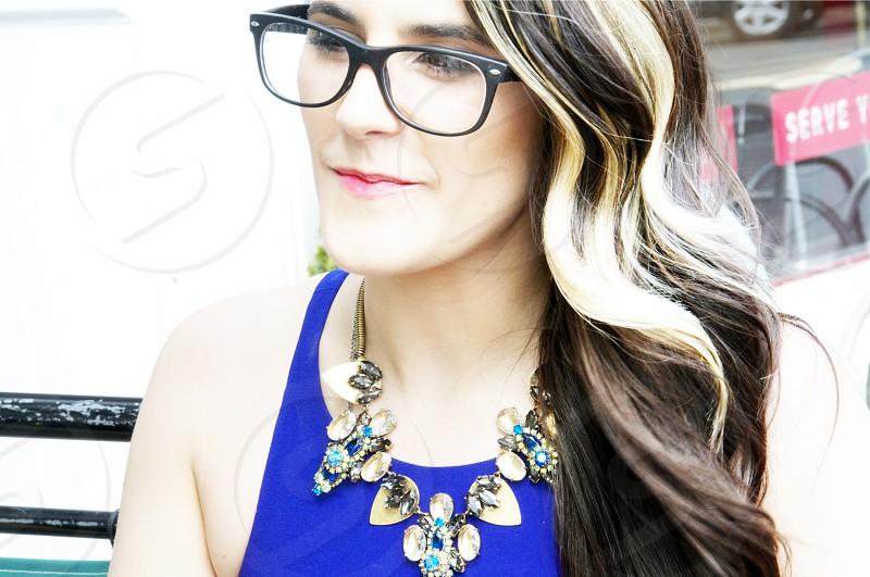 stylish woman wearing eyeglasses  photo