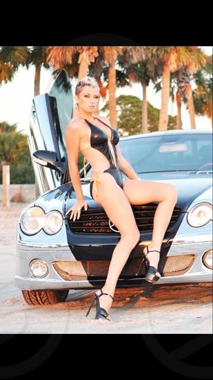 Chrome Mercedes and hot girl  photo