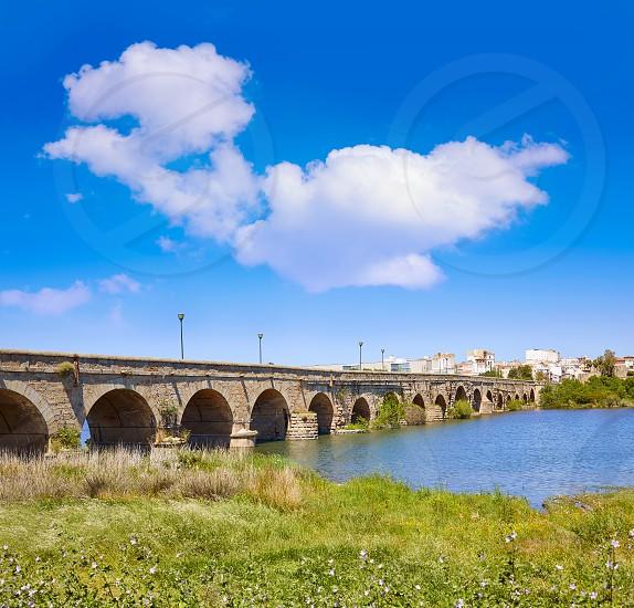 Merida in Spain roman bridge over Guadiana river Badajoz Extremadura photo