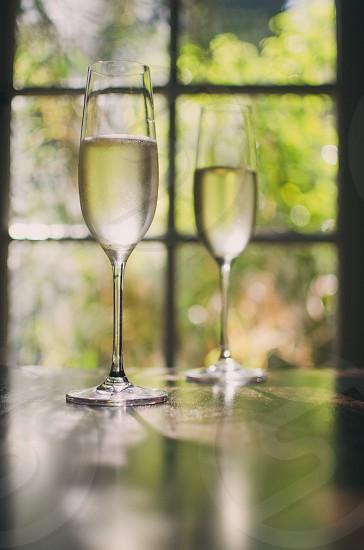 2 champagne glasses photo