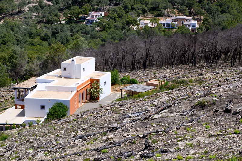 Ibiza after fire in spring 2011 almost burned houses in Spain photo