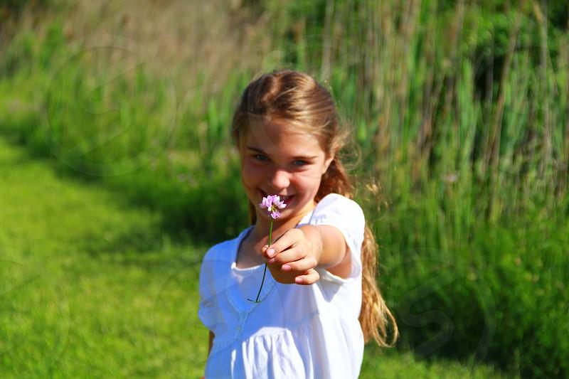 girl flower summer photo