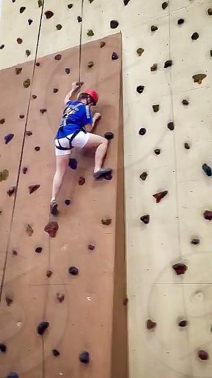 Rock wall climbing photo