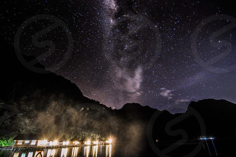 Milky way long exposure ambon night sky indonesia photo