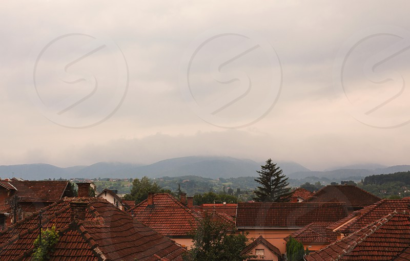 Rainy summer day over small Balkan town.  photo