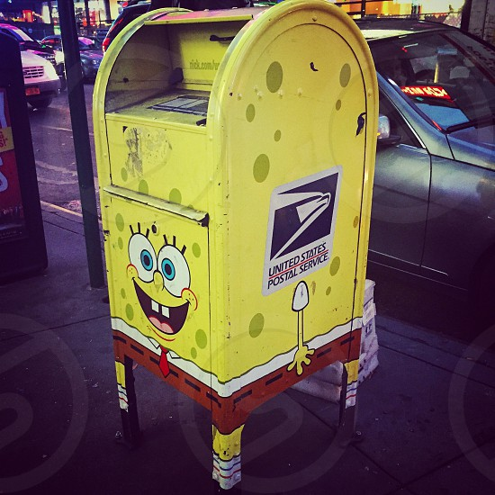 Sponge Bob SquarePants mailbox in Times Square Manhattan New York City. photo