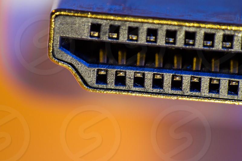 Macro closeup of HDMI cable connector. photo