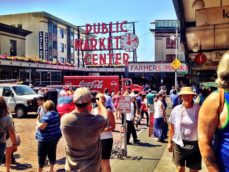 people in public market center photo