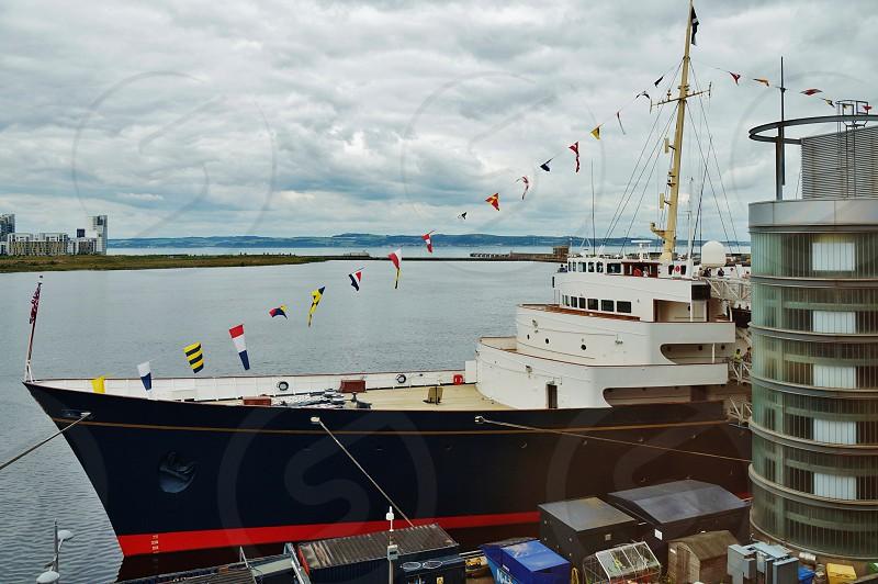The HMY Britannia royal yacht in Edinburgh Scotland photo