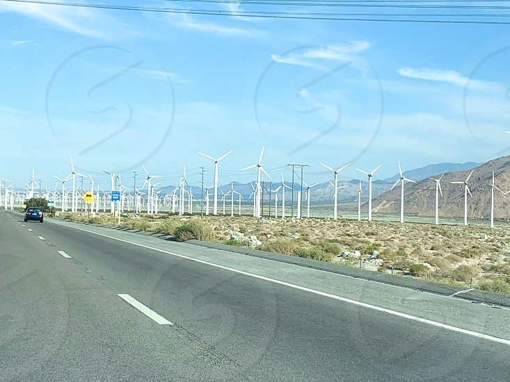 View of wind turbines on the way to Palm Springs photo