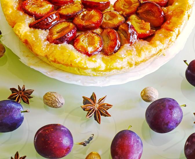 plums fruit species cakes pie summer food homemade photo