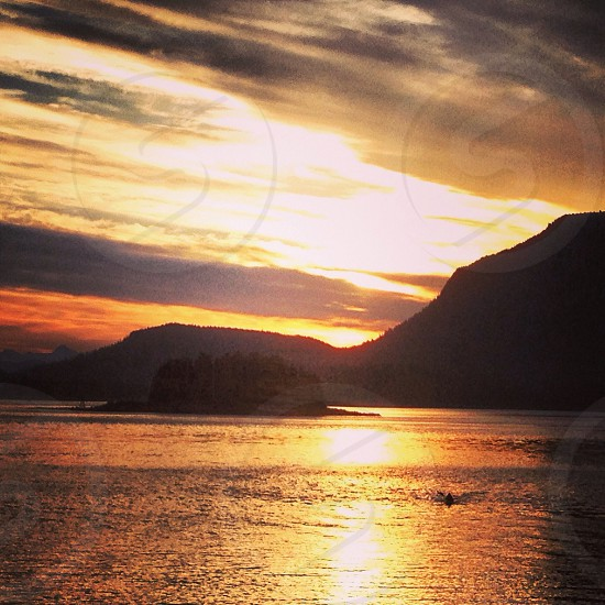 Alaskan sunset over the pacific photo