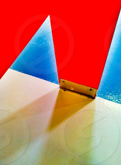 Colorful architecture abstract of toilet stall detail in public restroom photo