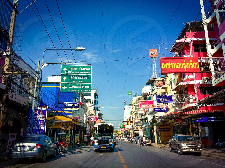Main road in Nakhon Sawan City central region of Thailand  photo