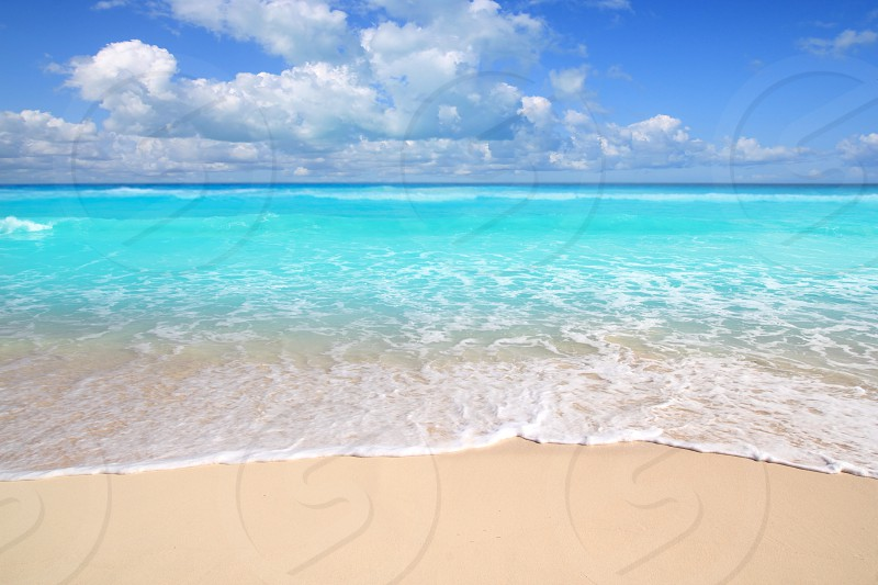 Caribbean turquoise beach perfect sea sunny day Mayan Riviera photo